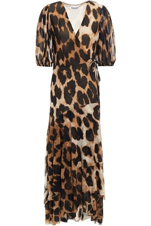 Ganni Woman Ruffled Floral-print Stretch-mesh Midi Wrap Dress Animal Print Size 36