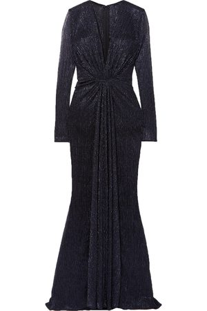 TALBOT RUNHOF Woman Knotted Tulle-trimmed Metallic Voile Gown Midnight Size 32