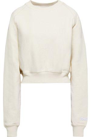 Reebok Woman Cropped French Cotton-terry Sweatshirt Ecru Size S