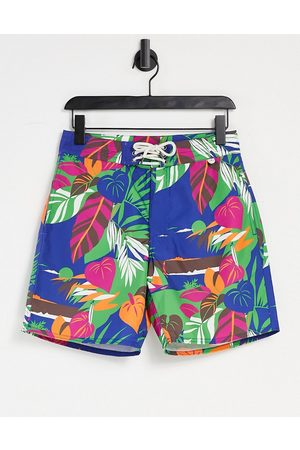 Polo Ralph Lauren Deco tropical seascape print island swim shorts in navy