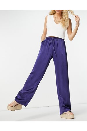 Ghost Satin wide leg trouser co ord with pockets and draw string detail in navy