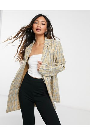 Urban Threads Oversized double breasted blazer co-ord in neutral-Multi