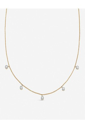 Monica Vinader Fiji Tiny Button 18ct -plated vermeil and diamond necklace