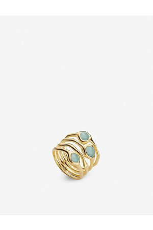 Monica Vinader Siren Cluster 18ct -plated vermeil and amazonite cocktail ring