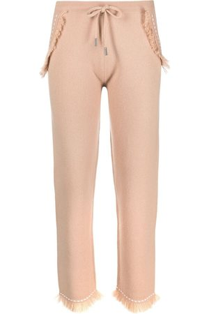 MAX & MOI Frayed contrast-stitch trousers - Neutrals