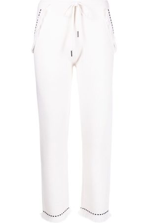 Max & Moi Women Trousers - Frayed contrast-stitch trousers