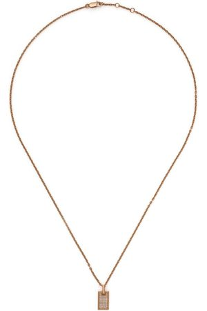 AS29 18kt rose small pave diamond tag necklace