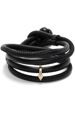 Mizuki Women Bracelets - 14kt yellow small diamond heart leather bracelet