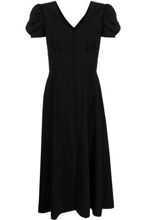 Saloni Women Dresses - Puff-sleeves V-neck dress