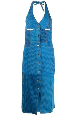 Marine Serre Moon-print patchwork halterneck dress