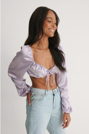 NA-KD Women Crop Tops - Tie Front Cropped Satin Blouse - Purple
