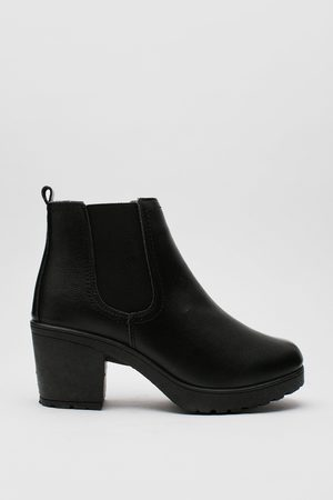 NASTY GAL Women Heeled Boots - Womens Leather Block Heel Chelsea Boots