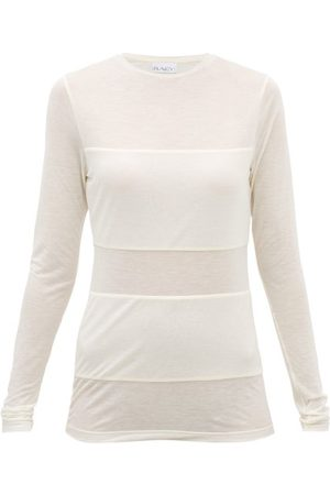 Raey Double-panel Long-sleeved Sheer T-shirt - Womens - Ivory