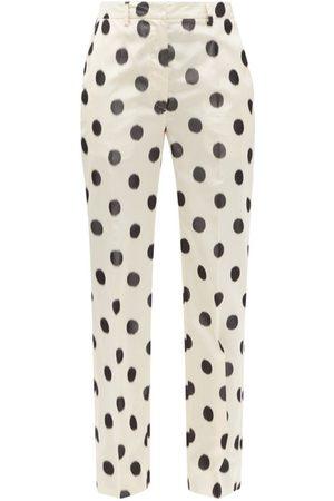 Prada Polka-dot Taffeta Straight-leg Trousers - Womens - Cream Print