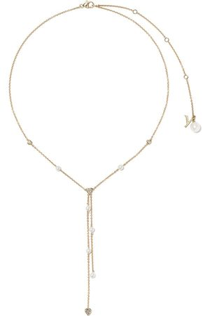Yoko London Women Necklaces - 18kt yellow gold Trend freshwater pearl and diamond necklace - 6