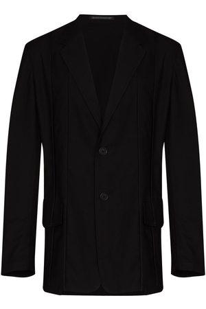 Yohji Yamamoto Piped-trim single-breasted blazer