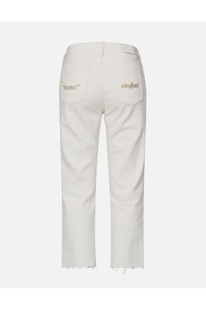 Evisu Metal Ring Cropped Relaxed Fit Jeans