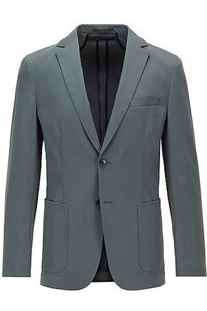 HUGO BOSS Slim-fit jacket in smooth fabric with partial lining