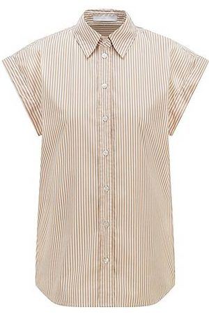 HUGO BOSS Relaxed-fit striped blouse in a stretch-cotton blend