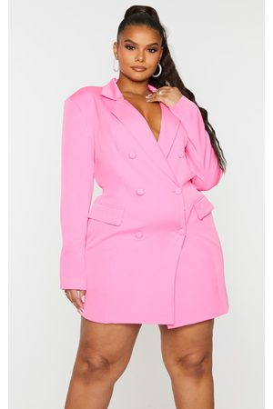 PRETTYLITTLETHING Plus Hot Double Breasted Structured Blazer Dress