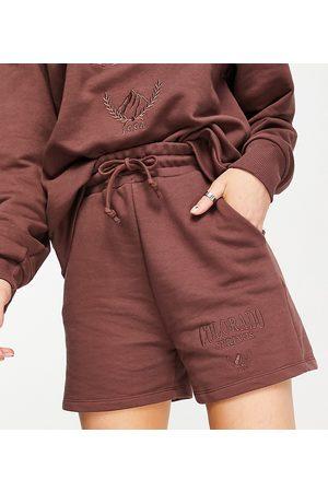Stradivarius Organic cotton varsity Colorado shorts co-ord in chocolate