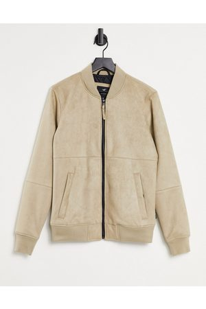 Hollister Lightweight faux suede bomber jacket in tan