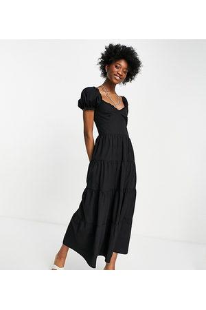Stradivarius Milkmaid poplin dress with puff sleeves in