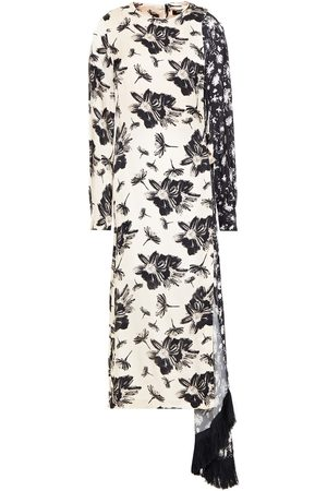 MOTHER OF PEARL Women Midi Dresses - Woman Louise Draped Fringed Printed Satin-jacquard Midi Dress Ivory Size 8