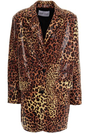 Stand Studio Women Blazers - Woman Leopard-print Coated Faux Snake-effect Leather Jacket Animal Print Size 36