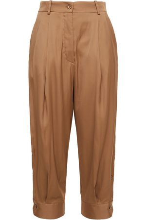 Emilio Pucci Women Trousers - Woman Cropped Pleated Crepe De Chine Tapered Pants Camel Size 40