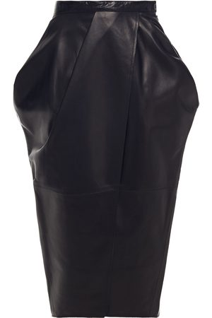 Proenza Schouler Women Leather Skirts - Woman Tulip Wrap-effect Leather Skirt Size 4