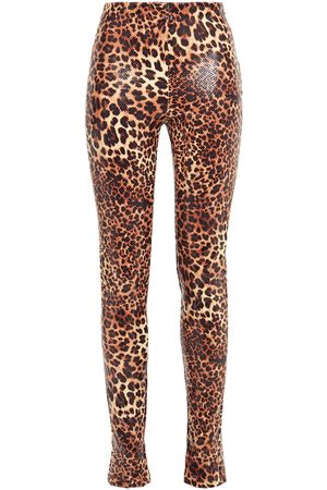 Stand Studio Woman Leopard-print Faux Snake-effect Leather Skinny Pants Animal Print Size 36