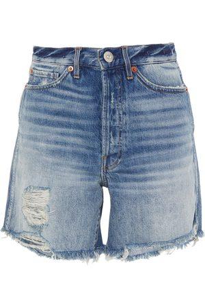 3x1 Woman Distressed Denim Shorts Mid Denim Size 23