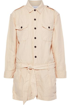 CURRENT/ELLIOTT Woman The Kaya Belted Cotton And Linen-blend Twill Playsuit Cream Size 0