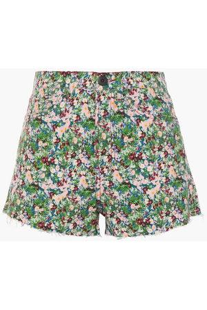 3x1 Woman Floral-print Denim Shorts Size 30