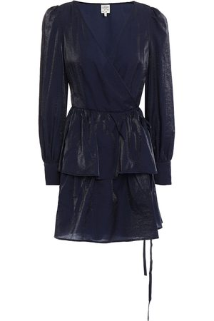 Baum und Pferdgarten Woman Akeisha Tiered Moire Mini Wrap Dress Navy Size 34