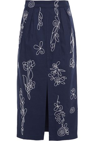 Mara Hoffman Woman Florence Embroidered Pleated Cotton-canvas Midi Skirt Navy Size 4
