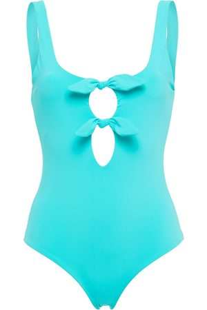 Mara Hoffman Woman Knotted Cutout Swimsuit Turquoise Size S