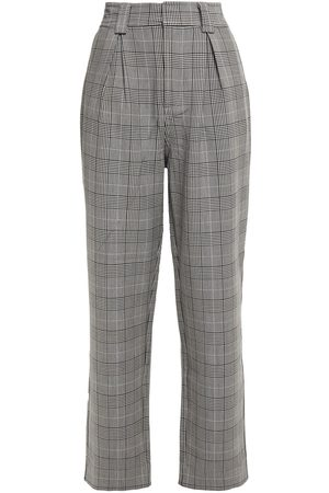 GANNI Woman Pleated Prince Of Wales Checked Woven Straight-leg Pants Size 34