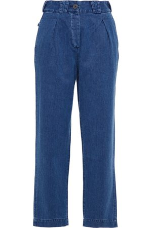 Mara Hoffman Woman Jade Pleated Hemp And Cotton-blend High-rise Tapered Jeans Mid Denim Size 10