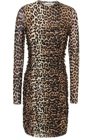 Ganni Woman Ruched Leopard-print Stretch-mesh Mini Dress Animal Print Size 36