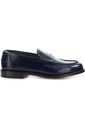 Doucal's NAVY LEATHER PENNY LOAFER