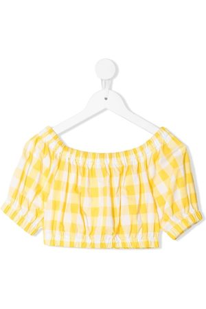 Piccola Ludo Girls Crop Tops - Gingham-gathered crop top