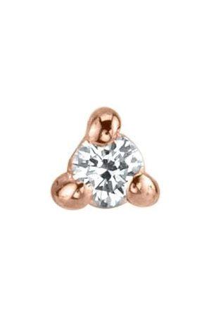 Lizzie Mandler Women Earrings - Mini White Diamond Piercing Stud - Rose Gold
