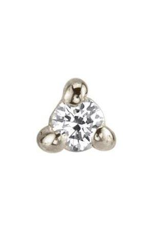 Lizzie Mandler Women Earrings - Mini White Diamond Piercing Stud - White Gold