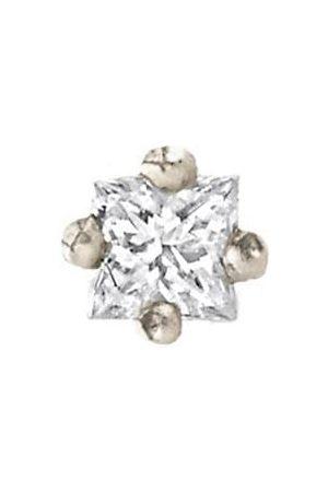 Lizzie Mandler Princess Cut Mini Diamond Stud - White Gold