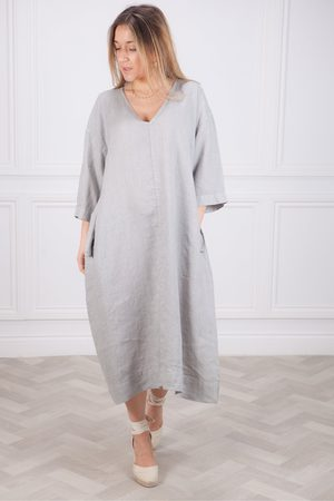 Crossley Women Dresses - Bakul V Neck Linen Dress in Silver