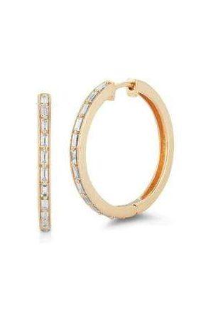 Dana Rebecca Designs Women Earrings - Sadie Pearl Baguette Hoops - Yellow