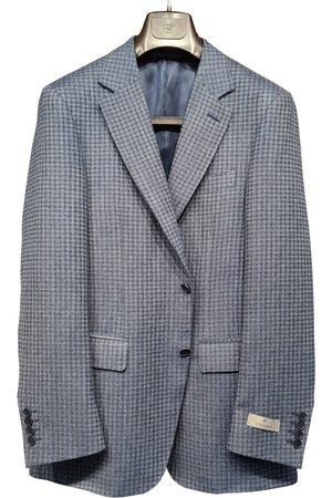 CANALI Men Summer Jackets - Tonal Linen and Wool Checked 2Button Jacket CF03249/401 13280L/7R