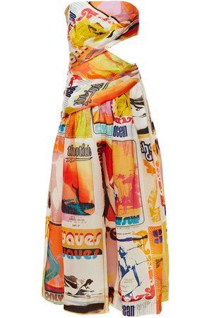 ZIMMERMANN Women Midi Dresses - Woman Strapless Cutout Silk-organza Midi Dress Multicolor Size 0